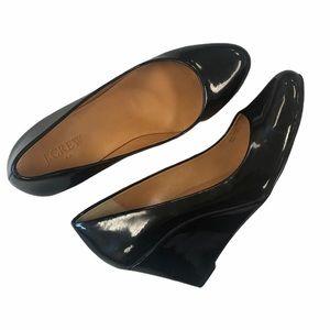 J. Crew Sylvia Black Patent Leather Wedges Sz 8